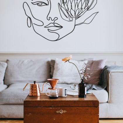 Protea Face Line Art